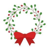 Feliz navidad bayas con corona de hojas con diseño de vector de pajarita