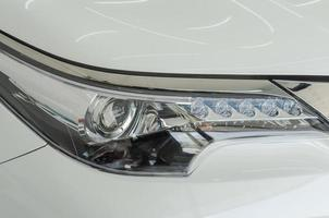 White head light on a car