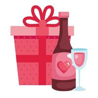 Copa de vidrio con botella de vino y caja de regalo.