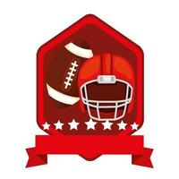emblem with helmet and ball american football isolated icon vector