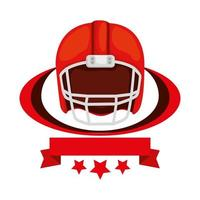 american football helmet with ribbon and stars vector