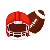Pelota y casco de fútbol americano icono aislado vector