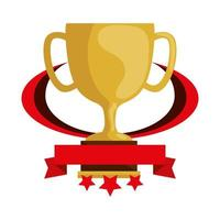 cup trophy award with ribbon and stars vector