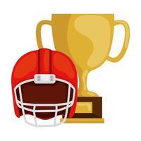 Trofeo de la copa y casco de fútbol americano icono aislado vector