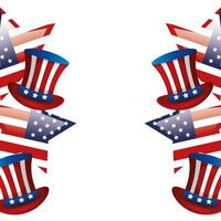 frame of top hats traditional of usa with stars vector