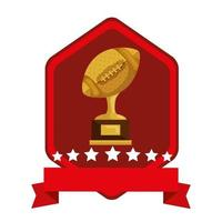 emblem with ball american football trophy isolated icon