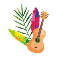 guitar with exotic feathers and tropical leaf
