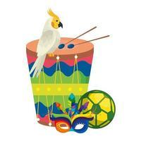 tambor con loro e iconos tradicionales vector
