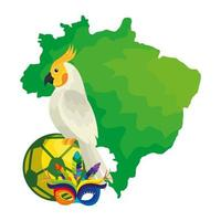 Mapa de Brasil con loros e iconos tradicionales. vector