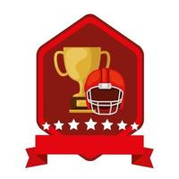 emblem with cup trophy and american football helmet