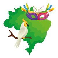 Mapa de Brasil con carnaval de loros y máscaras vector