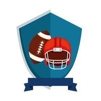 ball and helmet american football in shield isolated icon vector