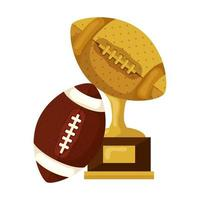 trophy with ball american football isolated icon vector