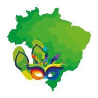 Mapa de Brasil con máscara de carnaval y chanclas vector