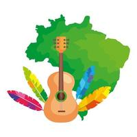 Guitarra con mapa de Brasil icono aislado vector