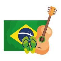 Guitarra y chanclas con bandera de Brasil icono aislado vector