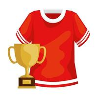 cup trophy and american football shirt vector