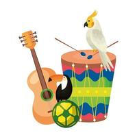 drum with parrot and set icons vector