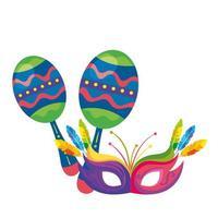 Maracas con máscara de carnaval icono aislado vector