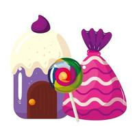 cupcake house delicious with lollipop and candy vector