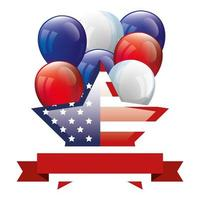united states flag in shape star with balloons helium and ribbon vector