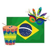 Bandera de Brasil con máscara de carnaval y tambor. vector