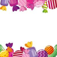 frame of delicious candies decoration vector