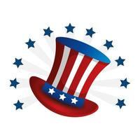 top hat traditional of usa with stars vector