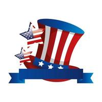 top hat traditional of usa with ribbon vector