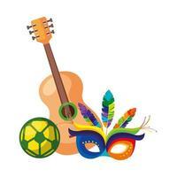 Guitarra con máscara de carnaval y balón de fútbol. vector