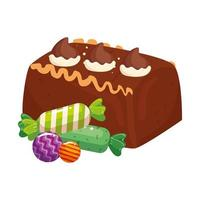 delicious cake chocolate with candies isolated icon vector