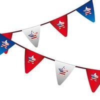 guirnaldas colgantes y estrellas con bandera usa vector