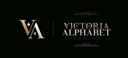 Elegant alphabet letters serif font and number set vector