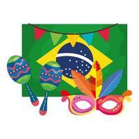 Bandera de Brasil con máscara de carnaval y maracas. vector