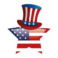 top hat with flag usa in star shape vector
