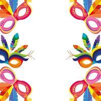 marco de máscaras de carnaval con plumas vector