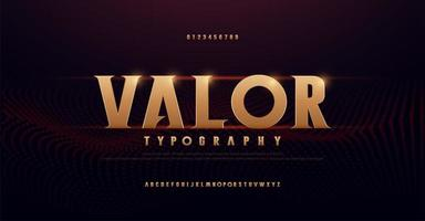 Abstract serif gold alphabet fonts vector