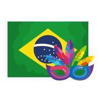 Bandera de Brasil con máscara de carnaval icono aislado vector
