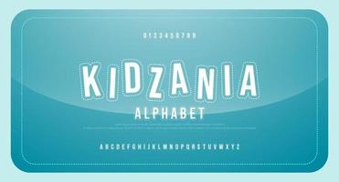 fun kid cartoon font alphabet uppercase and number vector