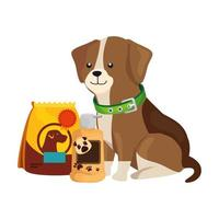 cute dog with bag food and icons vector