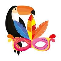 toucan with mask carnival isolated icon vector