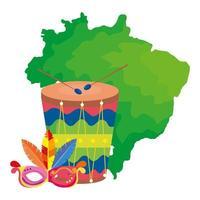 Mapa de Brasil con máscara de carnaval y tambor. vector