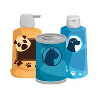 dog care bottles with food cat in can vector