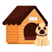 dog with house wooden isolated icon