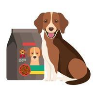 Lindo perro con bolsa icono aislado de comida vector