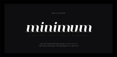 Elegante alfabeto impresionante letras fuente en cursiva y conjunto de números vector