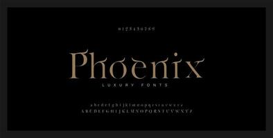 Elegant alphabet serif font and number set vector