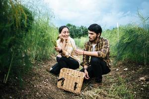 Pareja joven agricultor cosecha espárragos frescos en el campo