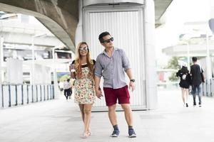 Bangkok, Thailand 2017- Tourist couple walking in the city