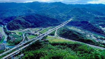 Aerial view of freeway 3 Muzha Interchange